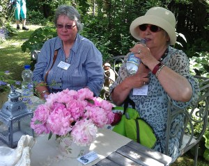 Attendees Carol (England) and Crystal (Germany) resting in the shade